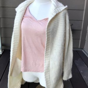 small white open front wool hooded long cardigan